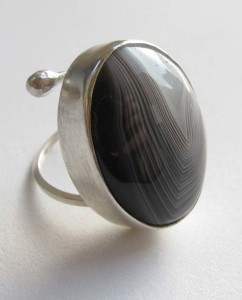 Sterling Silver and Banded Agate Ring