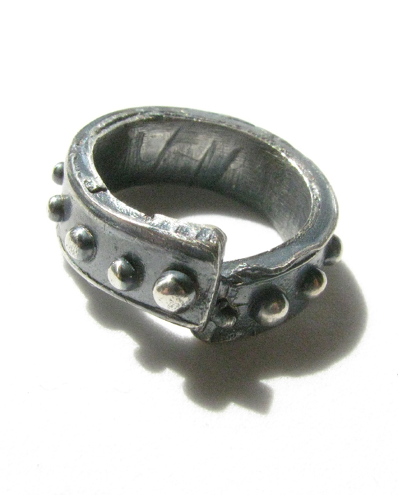 "Antiqued Sterling Silver ""Dot"" Band Ring, Size 5"