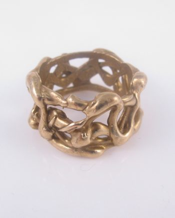 "Bronze Abstract ""Vines"" Thick Ring, Size 11"