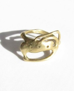 Bronze Abstract Wave Ring