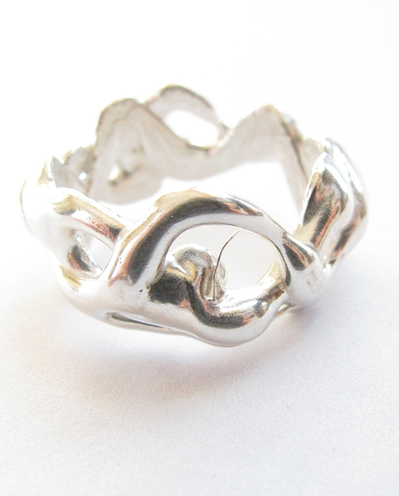 Sterling Silver Abstract Thick Vines Band, Size 7