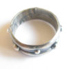 Antiqued Sterling Silver Trio Band Dot Ring, Size 8