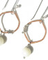 Copper, Sterling Silver and Mother of Pearl Oval Wrap Earrings