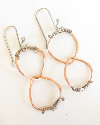 Copper and Antiqued Sterling Silver Double Teardrop Wrap Earrings