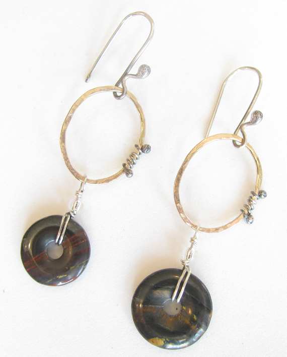 Gold-Filled, Sterling Silver and Tiger Iron Oval Wrap Earrings
