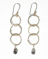 Midnight Quartz, Gold-Filled and Sterling Silver Triple Drop Wrap Earrings