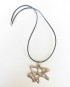 Abstract White Bronze Star Necklace with Leather Cord