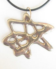 Abstract White Bronze Star Necklace w/Leather Cord