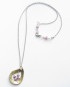 Sterling Silver, Brass and Glass Stitched Marriage-of-Metals Teardrop Necklace