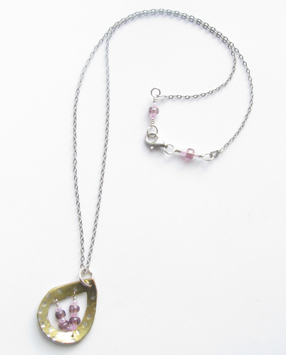 Sterling Silver, Brass and Glass Stitched Teardrop Necklace