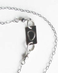 Vintage Glass, Sterling Silver and Antiqued Copper Rectangle Asymmetrical Necklace