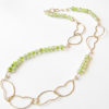 Vintage Glass, Glass Pearl, Brass and Gold-Filled Asymmetrical Wavy Leaf Necklace