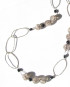 Onyx, Vintage German and Crackle Glass, and Sterling Silver Asymmetrical Necklace