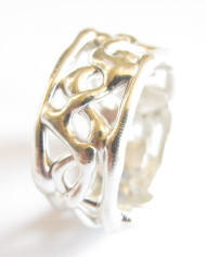 Sterling Silver Abstract Vine Band Ring, Size 11