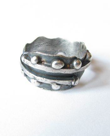 Antiqued Sterling Silver Wavy Dot Band, Size 8.5