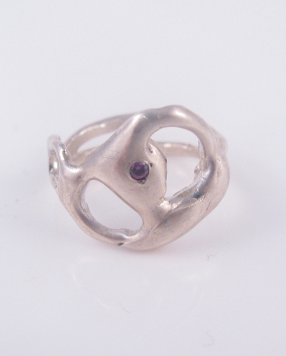 """Abstract Sterling Silver and Lab Alexandrite Double Band """"Yin/Yang"""" Ring, Size 8.5"""