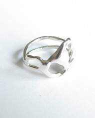 "Abstract Sterling Silver Double Band ""Yin/Yang"" Ring, Size 8.5"
