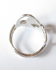 """Abstract Sterling Silver Double Band """"Yin/Yang"""" Ring, Size 8.5"""