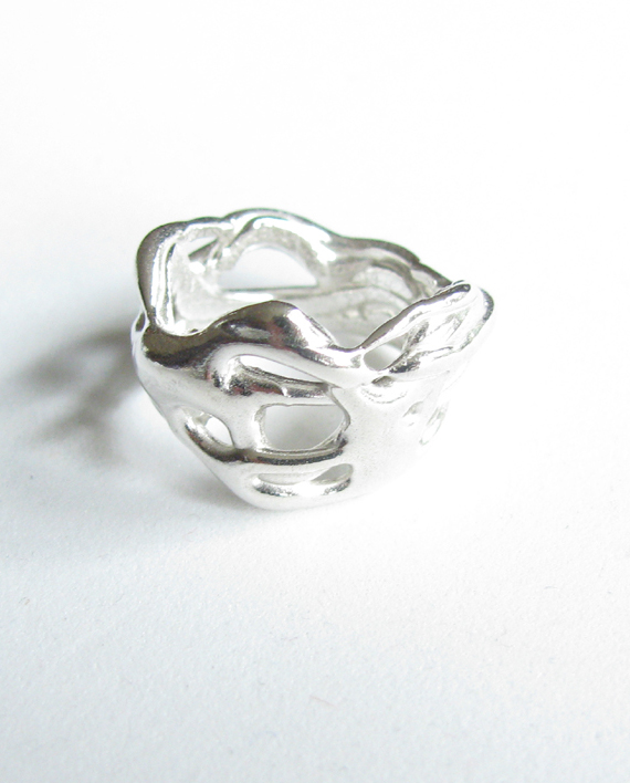 Abstract Sterling Silver Tapered Vine Ring, Size 5.5
