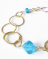 Brass, Vintage Glass, and Gold-Filled Chain Bracelet