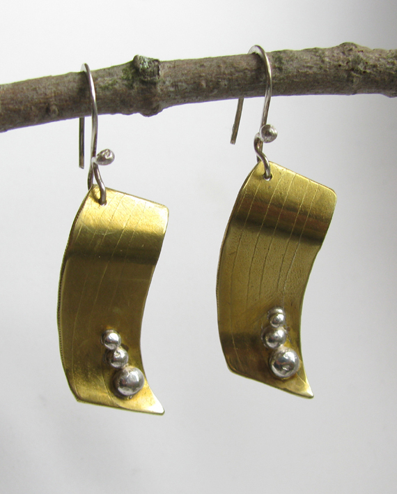 Etched and Formed Brass and Sterling Silver Curved Rectangle Earrings