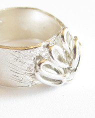 "Sterling Silver ""Tree"" Band Ring, Size 6.75"