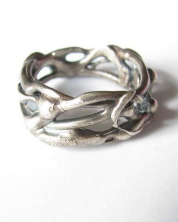 Sterling Silver Abstract Thin Vine Ring, Size 10