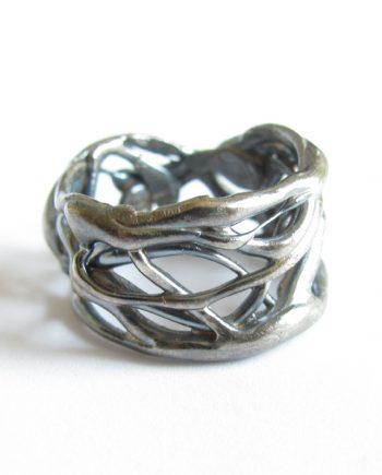 "Antiqued Sterling Silver ""Open Vine"" Band Ring, Size 8.5"