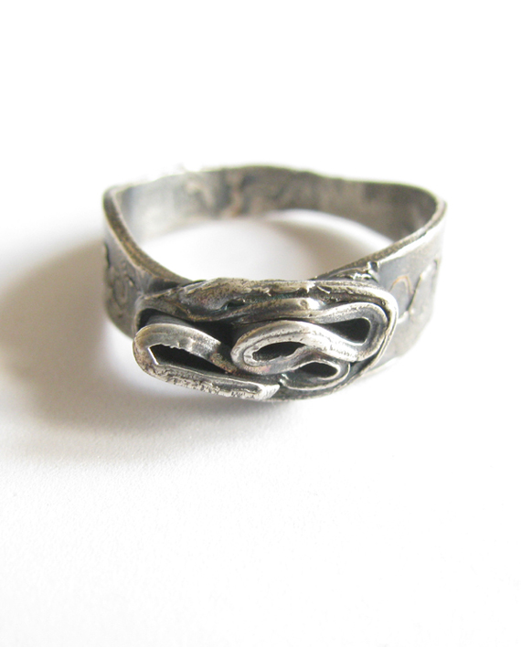 Antiqued Sterling Silver Wavy Spiral Ring, Size 10