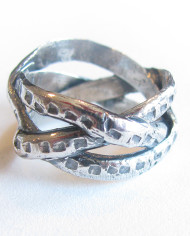Antiqued Sterling Silver Squared Braid Ring, Size 6