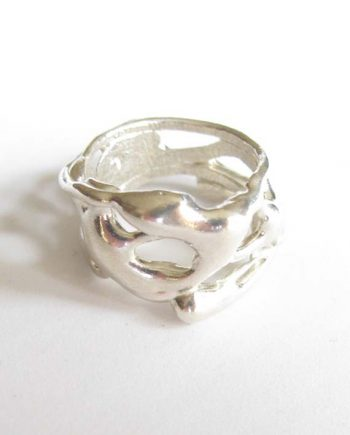Sterling Silver Wide Flowy Vine Ring, Size 6.5