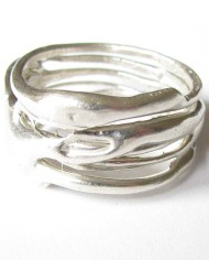 Sterling Silver Thin Line Vines Ring, Size 6.5