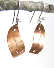 Curved Copper and Sterling Silver Squiggle Earrings