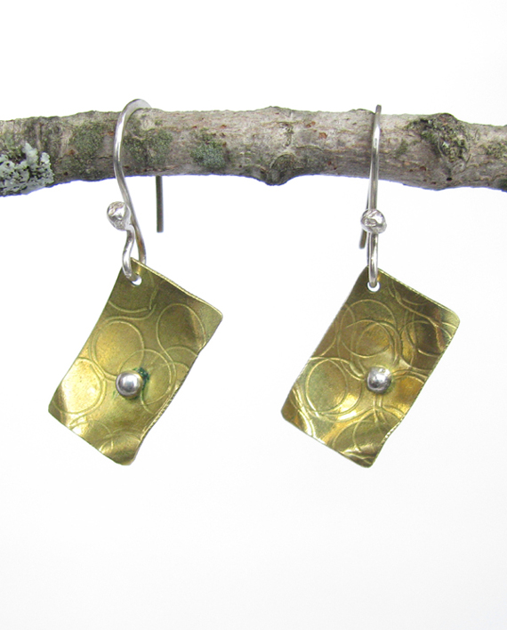 Textured Brass and Sterling Silver Forged Earrings