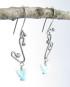Blue Vintage German Glass and Antiqued Sterling Silver Earrings