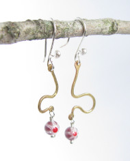 Asymmetrical Brass, Italian Glass, and Sterling Silver Earrings
