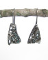 Abstract Antiqued Layered Sterling Silver Cast Drop Earrings – Large Triangles