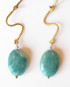Russian Amazonite, Brass and Sterling Silver Hinged Earrings