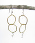 Sterling Silver and Brass Double Hexagon Squiggle Drop Earrings
