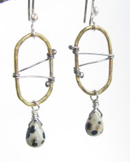 Sterling Silver, Brass and Dalmation Jasper Oval Stitched Earrings
