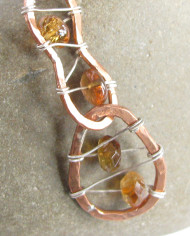 Copper, Sterling Silver, and Golden Topaz Stitched Necklace