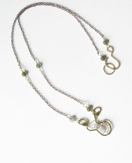 Tourmaline, Sterling Silver and Brass Stitched Necklace