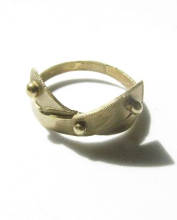 "Bronze ""Mini Dot"" Crossover Ring, Size 8.75"