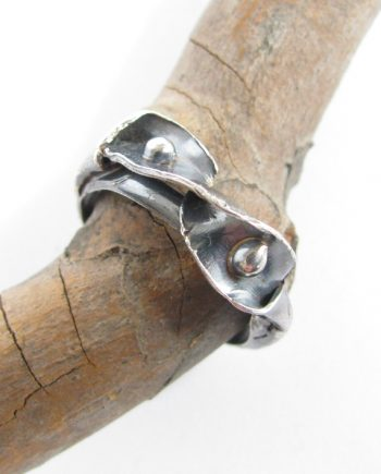 Antiqued Sterling Silver Ribbon Leaf Ring, Size 10.75