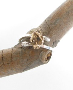 Abstract Cast Bronze and Sterling Silver Ring, Size 9