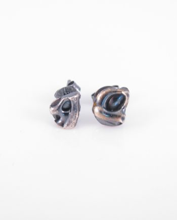 Abstract, Antiqued, Layered Sterling Silver Cast Post Earrings