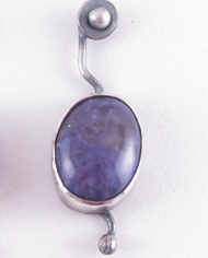 Antiqued Sterling Silver and Russian Charoite Squiggle Post Earrings