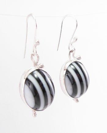 Vintage Polymer and Sterling Silver Squiggle Hook Earrings