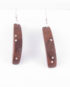 Brown Ebony and Silver Inlay Curved Earrings