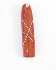 Long Rectangular Wood and Silver Inlay Earrings